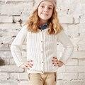 Lolita Muchacha Del Niño Suéter Hecho Punto Rebeca de Los Niños Para Las Muchachas Capa Femenina Sólido Rosa Azul de Invierno de Algodón Suéteres Calientes 60W0031