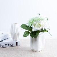 Biały wazon Ceramiczny wazon wystrój domu pulpit doniczki z jedwabiu kwiat wazony ślubne party decor