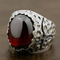 925 Sterling Silver Huge Red CZ Stone Mens Biker Rocker Punk Ring 8Y003