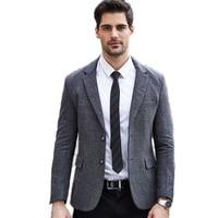 Si Qilong 2016 겨울 새로운 모직 정장 남성 비즈니스 캐주얼 블레이져 복고풍 신사 스타일 회색 클래식 트위드 웨딩 재킷 재킷