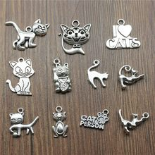 10pcs/lot Charms Cat Antique Silver Color Cute Cat Pendant Charms Kawaii Cat Charms For Jewelry Making(China)