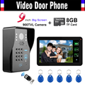 9 inch Touch Monitor Recording Password Wired Video Door Phone Intercom Doorbell Door bell Doorphone Record 8GB TF card