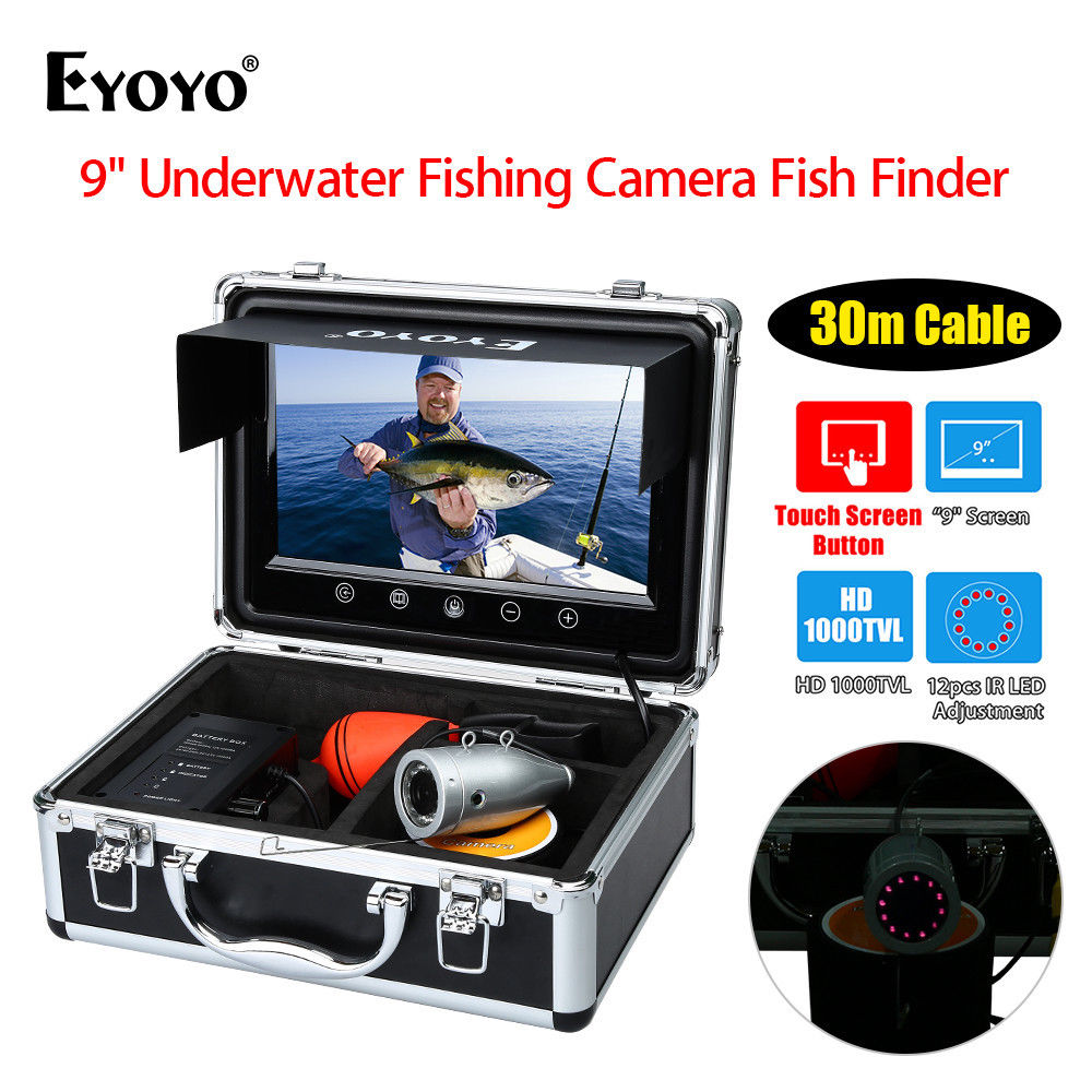 EYOYO WF09T 9inch Touch Screen Button 30M IR Adjustment Underwater Fishing Camera Silver IP68 Waterproof Fish Finder HD 1000TVL 19 inch infrared multi touch screen overlay kit 2 points 19 ir touch frame