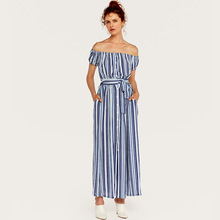 AcFirst Summer Bohemian Women Dress Striped Printed Long Dresses Strapless Slash Neck Holiday Sexy Plus Size Sundress