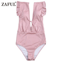 CharMma 2017 New Women Frilled One Piece Plunge Swimsuit Sexy High Waist Plunging Neck Solid Swim