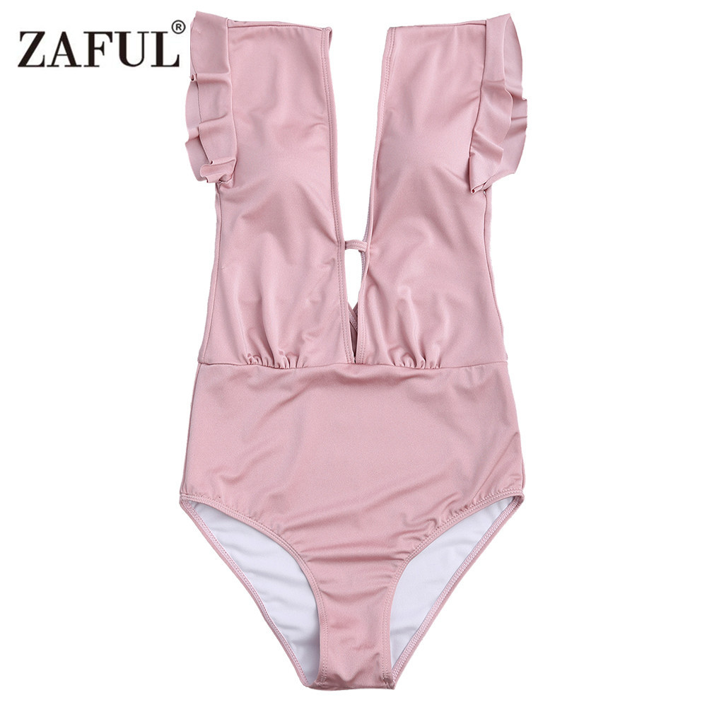 Zaful 2017 New Women Frilled One Piece Plunge Swimsuit Sexy High Waist Plunging Neck Solid Swim Bathing Suit Monokini Swimwear sexy plunging neck sleeveless black one piece swimsuit for women