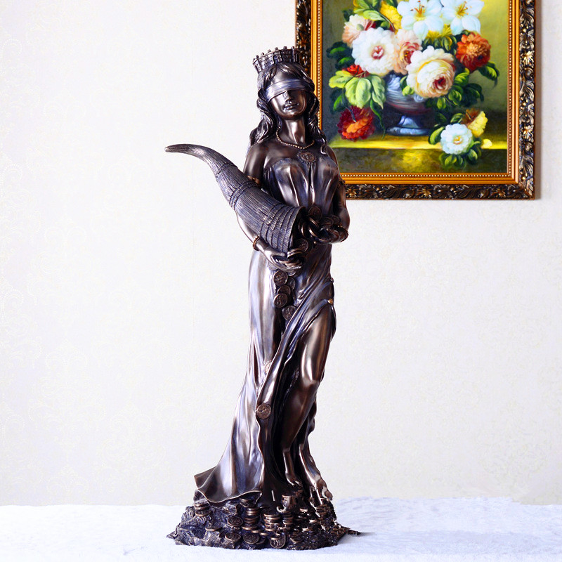 Creative Greek Mythology The Goddess Of Fortune Chill Casting Copper Craftwork Figure Sculpture Living Room Decoration G1454 musician ludwig van beethoven western classical composer chill casting copper head sculpture colophony crafts decoration g1004