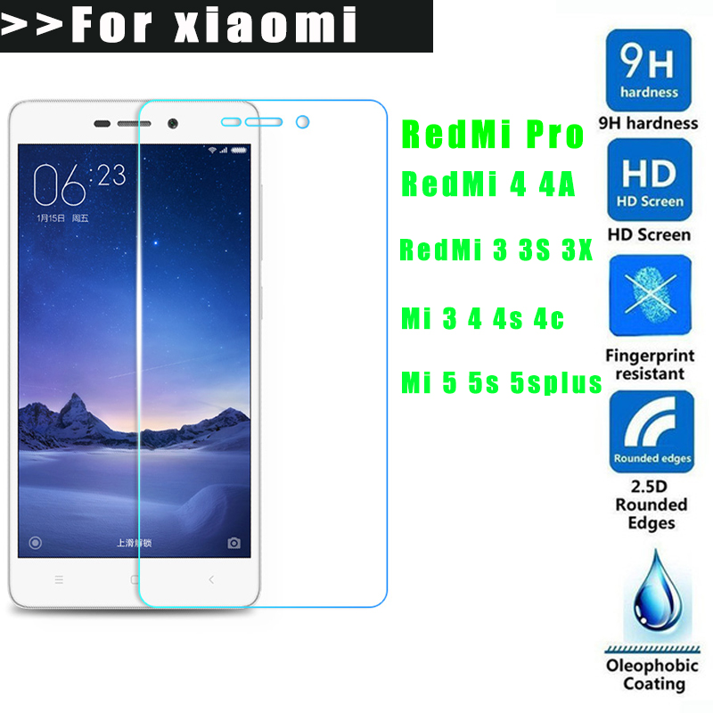 9H 2.5D Tempered Glass For Xiaomi Redmi 3 3S 3X pro 4 4A mi4C mi5 5S plus Screen Protector for Redmi3 S mi4