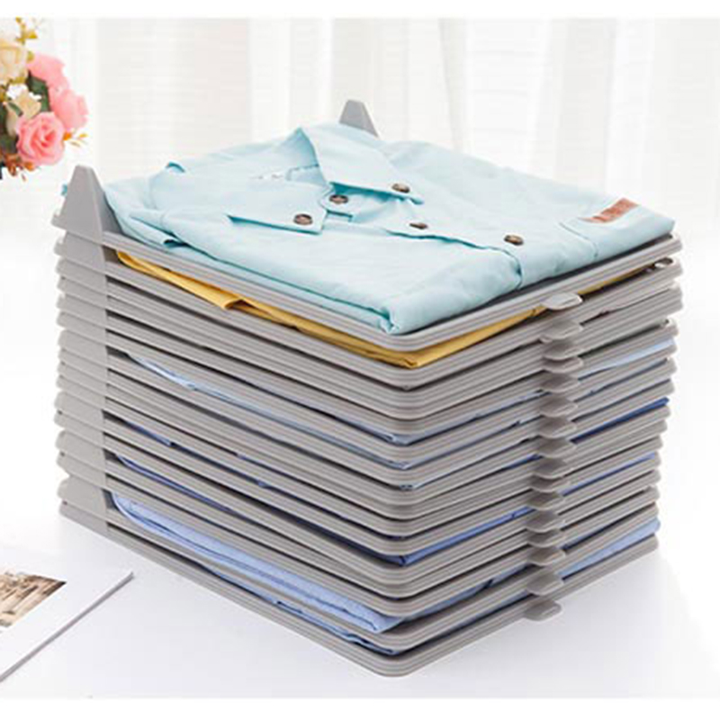 5Pcs/1Set Closet Clothes Storage And Folder Tray <font><b>Shirt</b></font> Sort Finishing Storage Rack <font><b>For</b></font> Save Space <font><b>Organizer</b></font> image