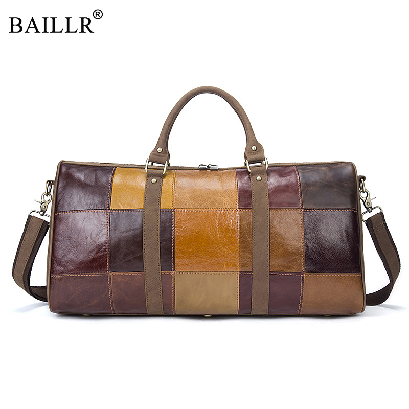 2018 New fashion Patchwork Vintage Men Travel Genuine Leather Mens Travel Bags Large capacity handbag Designer male Messenger