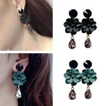 Vintage Black/Green Faux Crystal Women Flower Long Drop Pendant Dangle Earrings Banquet Cocktail Party Jewelry Earrings