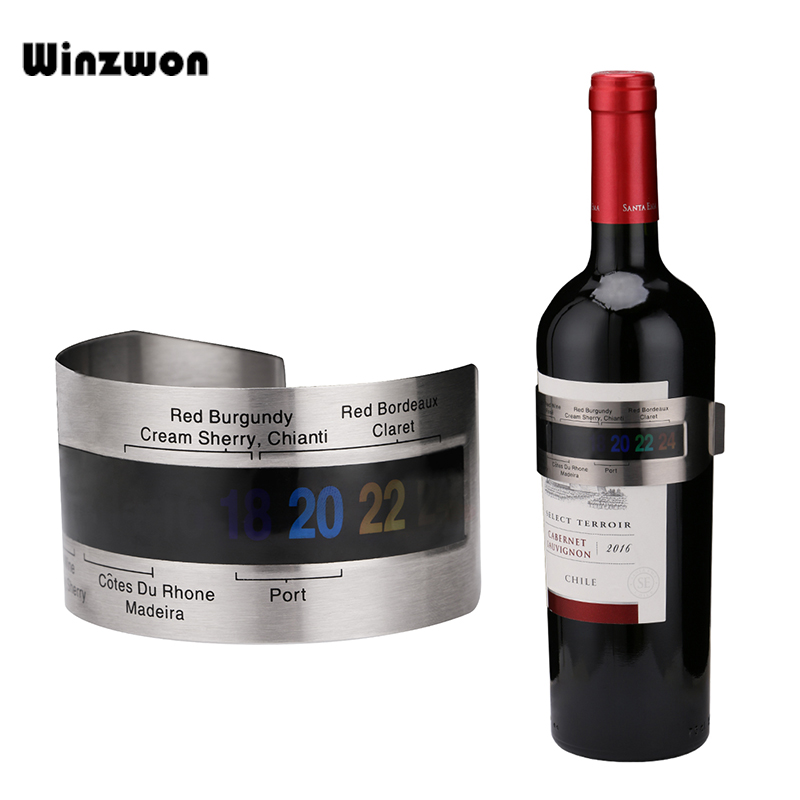 1Pcs Stainless Steel Wine Bracelet Thermometer 4-26 Degrees Centigrade Red White Wine Temerature Sensor Measuring Tools image