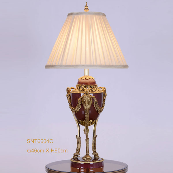 Goat Head Golden Copper Dark Red Porcelain Table Lamp Vintage Beauty Design Light