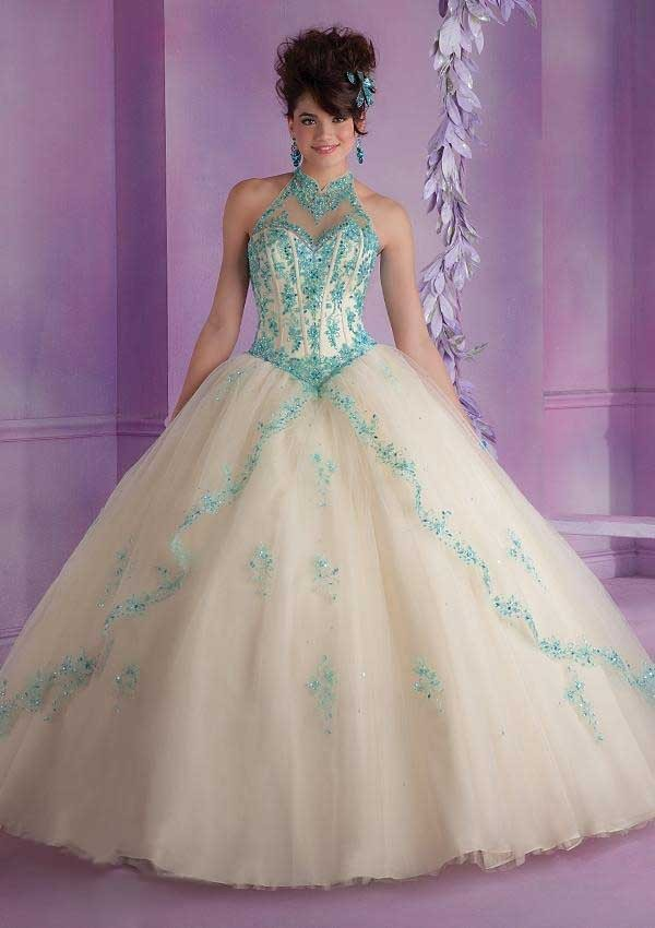 Debut Ball Gowns Quinceanera Dress for 15 Years Tulle Appliques Halter New Fashion Design 2015 Girls Special Party Clothing4