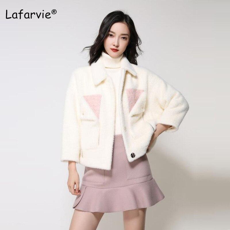 e074ebe4463128 Femelle Fluffy Fourrure Mode pink Fausse White Lafarvie New Hiver Femmes  Blanc De Survêtement Épaississent 2019 Cardigan Manteau ...