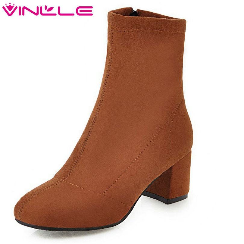 VINLLE 2018 Women Autumn Shoes Ankle Boots Square Med Heel Round Toe Sweet Style Flock Brown Ladies Motorcycle Shoes Size 34-43 vinlle 2017 women pumps college style square med heel vintage slip on pu leather shoes casual round toe girl shoes size 34 40