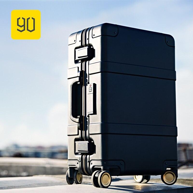 Xiaomi 90FUN Smart Bagages En Alliage D'aluminium Carry-Ons Bagages À Roulettes Valise Intelligente D'empreintes Digitales/TSA Déverrouiller Noir 20 Pouce