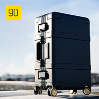Xiaomi 90FUN Smart Luggage Aluminum Alloy Carry Ons Rolling Luggage Suitcase Intelligent Fingerprint/TSA Unlock Black 20 Inch