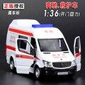 Nuevo 1/36 Escala Diecast Ambulancia Modelo de Coche Juguetes de China de Metal Tire Hacia Atrás Musical Intermitente Coche de Juguete Para El Regalo/Niños
