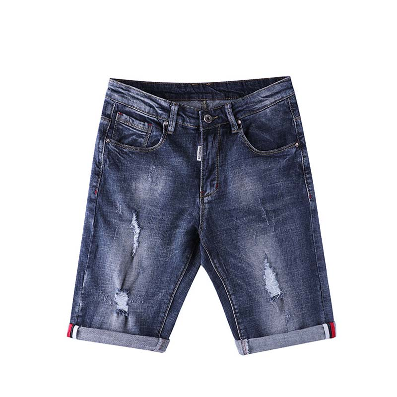 Fashion Elastic Short Jeans Men Summer New Arrive Brand Jeans Slim fit Straight Ripped Beggar Hole Design Scratched Jeans 28-36