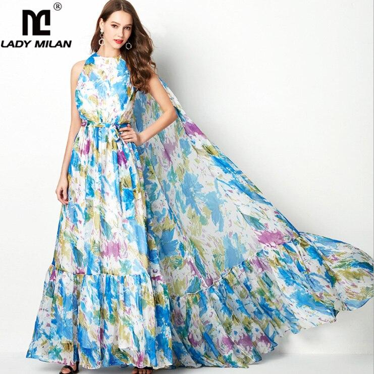 Lady Milan Womens O Neck Sleeveless Floral Printed Ruffles Big Cape Elegant Long Party Prom Fashion Maxi Designer Dresses