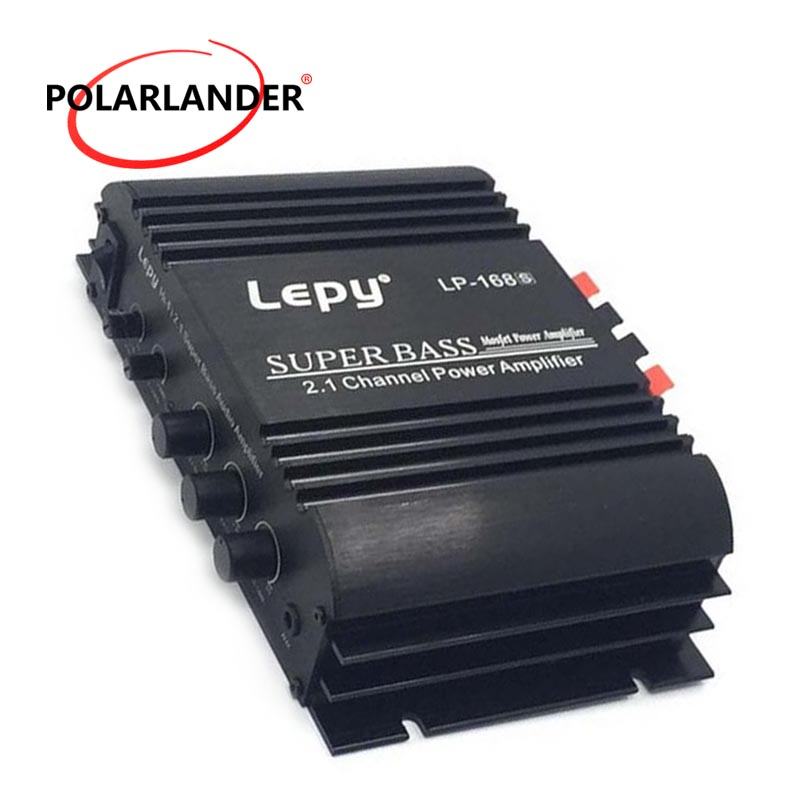 Lepy LP-168S 12V Power Subwoofer 2.1 Channel Auto Audio Car Amplifier Bass Output HiFi Stereo Sound WithAUX Function LoudSpeake