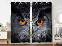 Blackout Curtains 2 Panels Grommet Curtains for Bedroom Cool Owl Orange Eye Gray Animal