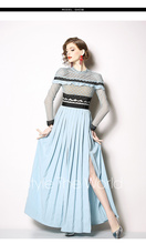 New fashion lace stitching pleated long open-ended dress  Party Casual Sweet Pullover Long Sleeve