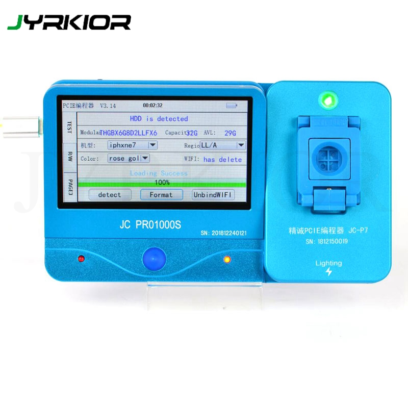 JC P7 PCIE NAND Flash IC Programmer Tool NAND Test Fixture Nand Repair Machine For iPhone