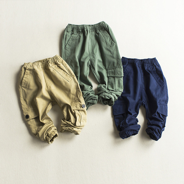 5292eee1cb Spring Pants for Boys Cotton Baby Boys Cargo Pants Children's Solid  Trousers Khaki Blue with Pockets Pants Boy Kids Clothing