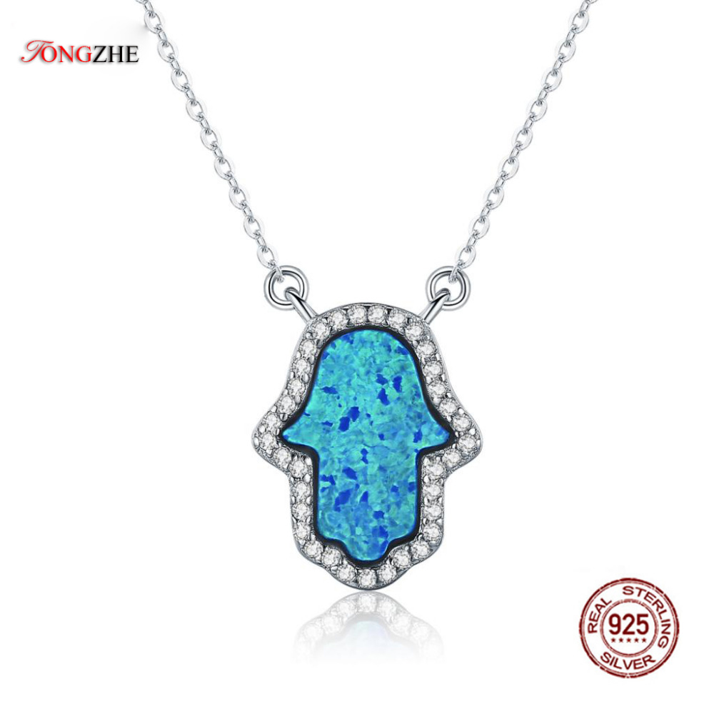 TONGZHE Luxury Synthetic Opal Hamsa Hand Pendant Necklace Sterling Silver 925 Jewelry Necklace Women Cable Chain 16