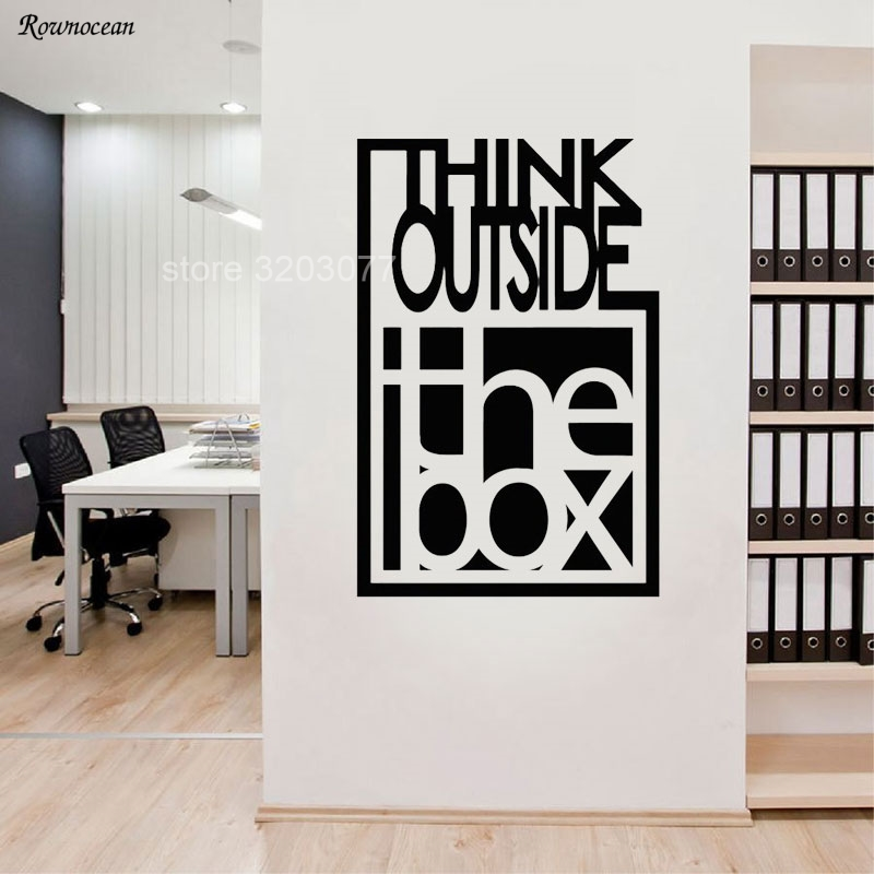 Think Outside The Box Inspire Quote Wall Decals Motivation Office Team Art Decor Room Vinyl Sticker On The Wall Mural H561