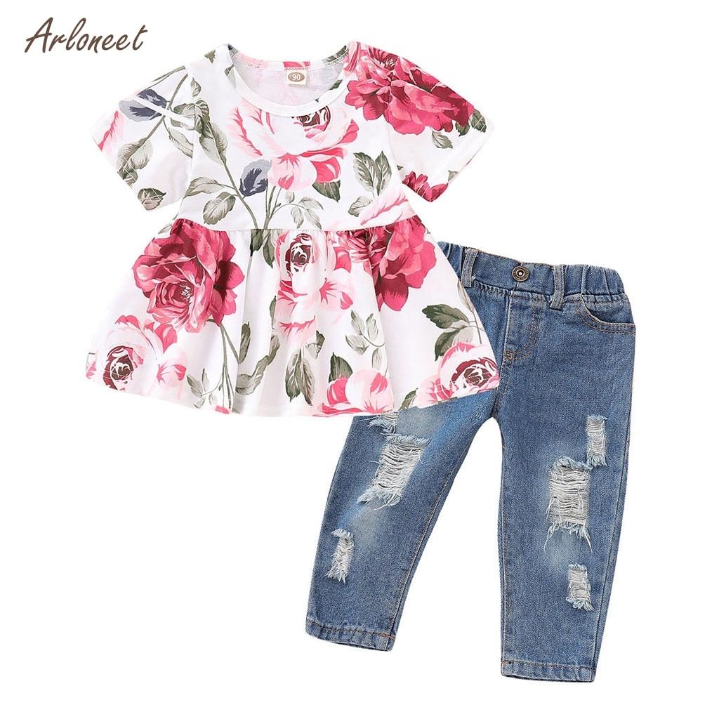 4Pcs//Set Toddler Baby Boys 3pc T-Shirt 1pc Denim pants Kids Summer Clothes set