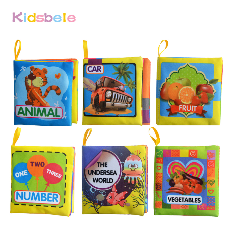 Soft Baby Rattle Toys 6PCS Cloth Book Infant Early Learning Educational Rustle Coloring Animal Book For
