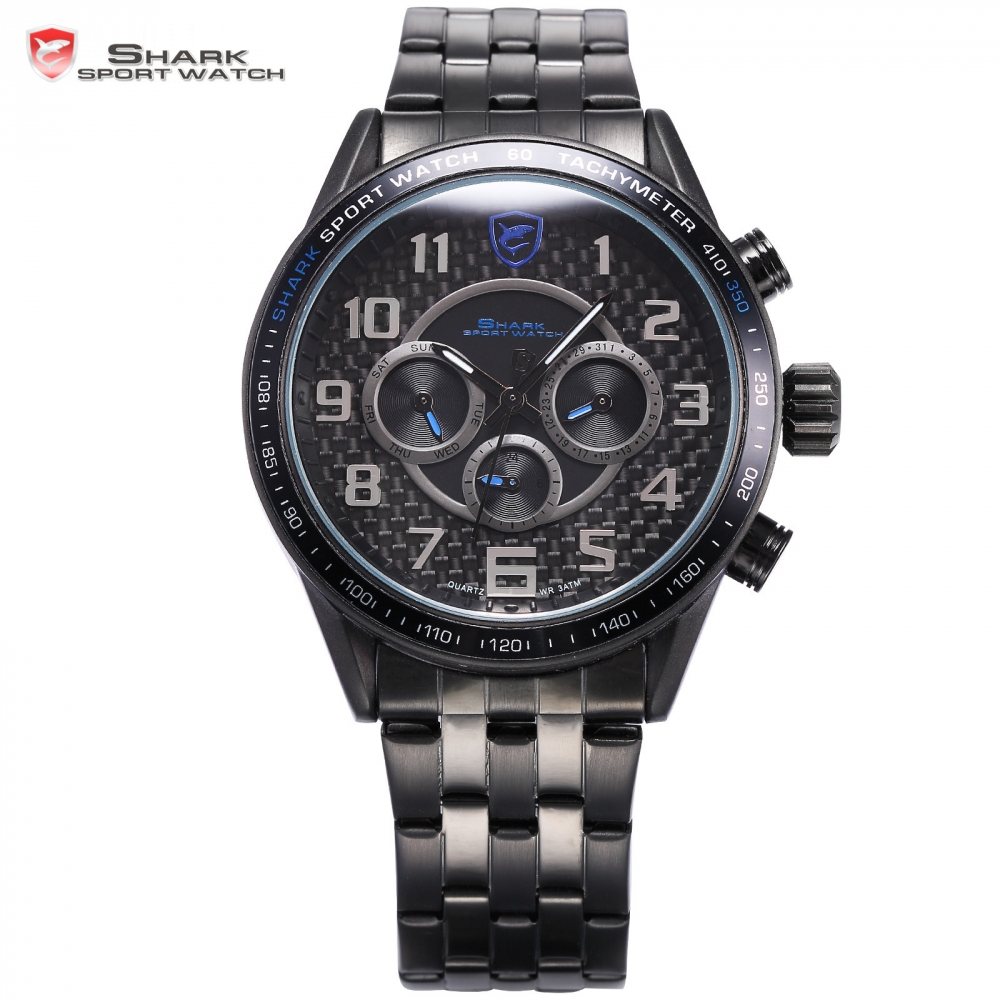 Blackspot Shark Sport Watch Stainless Steel Band Round Case Alloy Blue Dial Simple Arabic Numbers Men's Quartz Watch / SH367 elp oem 170 degree fisheye lens wide angle mini cmos ov5640 5mp autofocus usb camera module for android linux windows