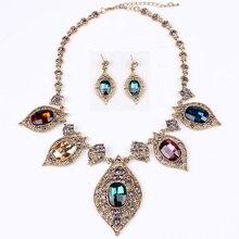 Sistemas de La Joyería de Lujo Retro Vintage Colgante y Collar Encantos Pendientes De Gota de Agua Collar de diamantes de Imitación Para El Partido Regalo TL4015