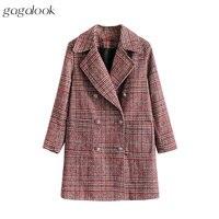 Gagalook Check Winter Coat Women Notch Lapel Copper Button Long Warm Faux Wool Coat Overcoat Peacoat