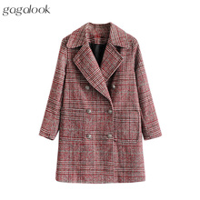gagalook Check Winter Coat Women Plaid Notch Lapel Copper Button Long Warm Faux Wool Coat Overcoat Peacoat 2017 C0146(China)