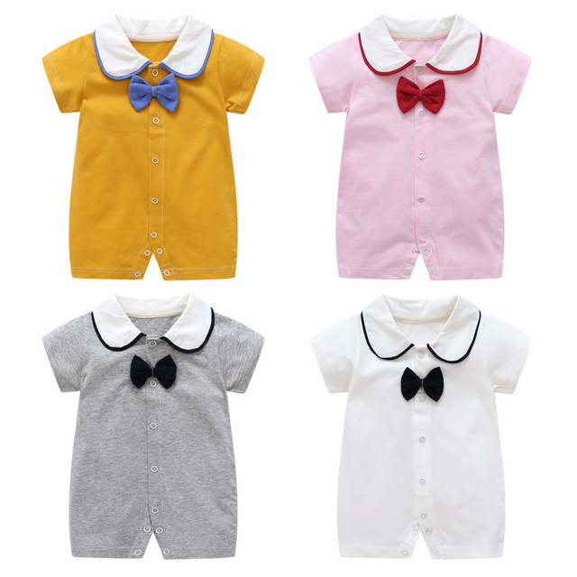 2c9dad81fae0 Summer cute bow gentleman Baby Rompers Newborn Baby boys girls Clothes For  0-2Y cotton Short sleeve Jumpsuit Kids Baby Outfits