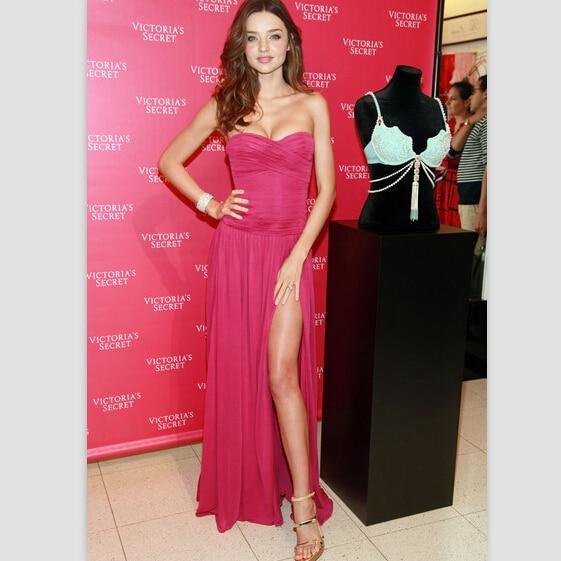 Online Shop Miranda Kerr Fuchsia Strapless Slit gown celebrity ...