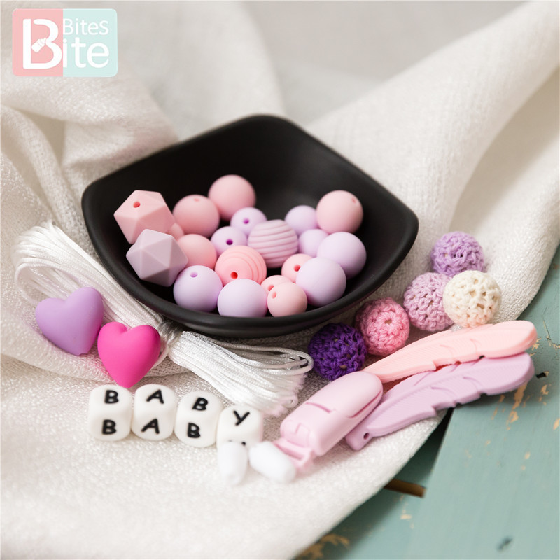 Bite Bites 1Set Feather Silicone Teether Baby Chews Food Grade Beads Teething Toys For Teeth Goods