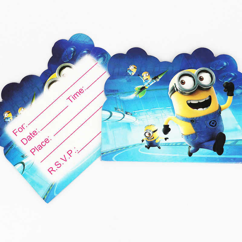 10pcs/lot Cartoon Minion Theme Party Paper Invitation Card Kids Happy Birthday Party Supplies Decoration Favors