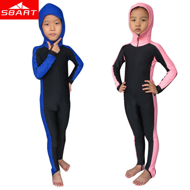 Full Body Kids Diving Suit Swimwear Hooded UV Protect Long Sleeve Boys Girls Swimsuit Diving Suit Lycra Diving Skin Wetsuits