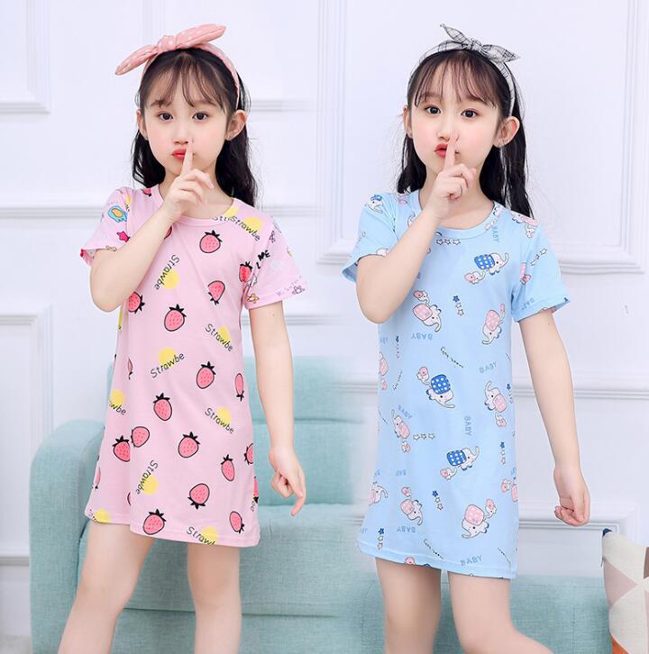 Girls Summer Clothing Nightdress Teenage Children Short ...