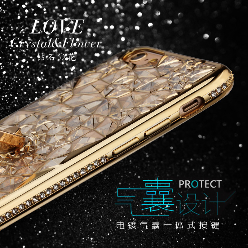 For iPhone 11 Pro XS Max XR Case Luxury 3D Soft Ring Capa For iPhone 5 6 6S 7 8 Plus Ring Silicon Glitter Rhinestone Stand Cover