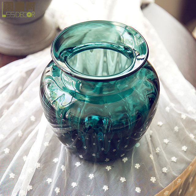 Online Shop 7 Inch Turquoise Embossment Glass Vase Handmade Glass