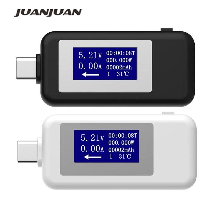 Usb tipo c usb testador lcd digital tensão medidor de corrente voltímetro amp volt amperímetro detector banco potência carregador indicador 20% de desconto