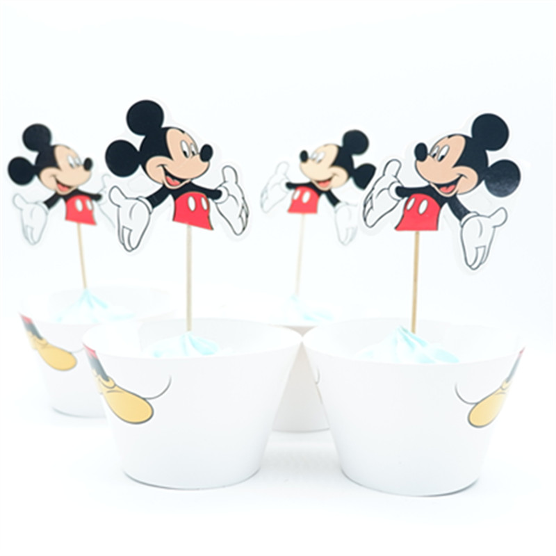 24pcs/lot Mickey Mouse Cupcake Wrappers Toppers Decoration ...