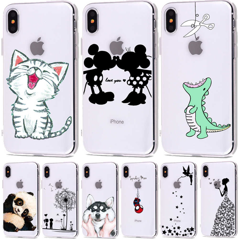 Cute Cartoon Soft TPU Silicone Cases for iPhone 5 S SE X Phone Case For iPhone 6s 6 7 8 Plus XS Max XR Coque Frosted Fundas