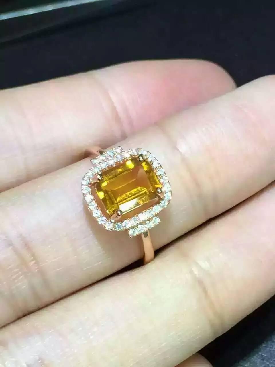 Bague en citrine naturelle bague en cristal jaune naturel S925 en argent sterling à la mode élégant carré femmes fille cadeau bijoux
